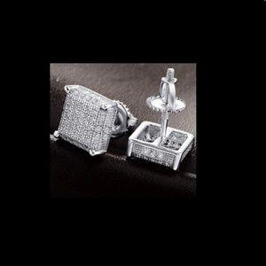 Mens 14k White Gold Sterling Silver Earrings
